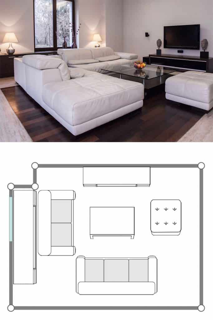 Luxurious modern living room with wooden flooring, white sleeper couches, and TV on the background