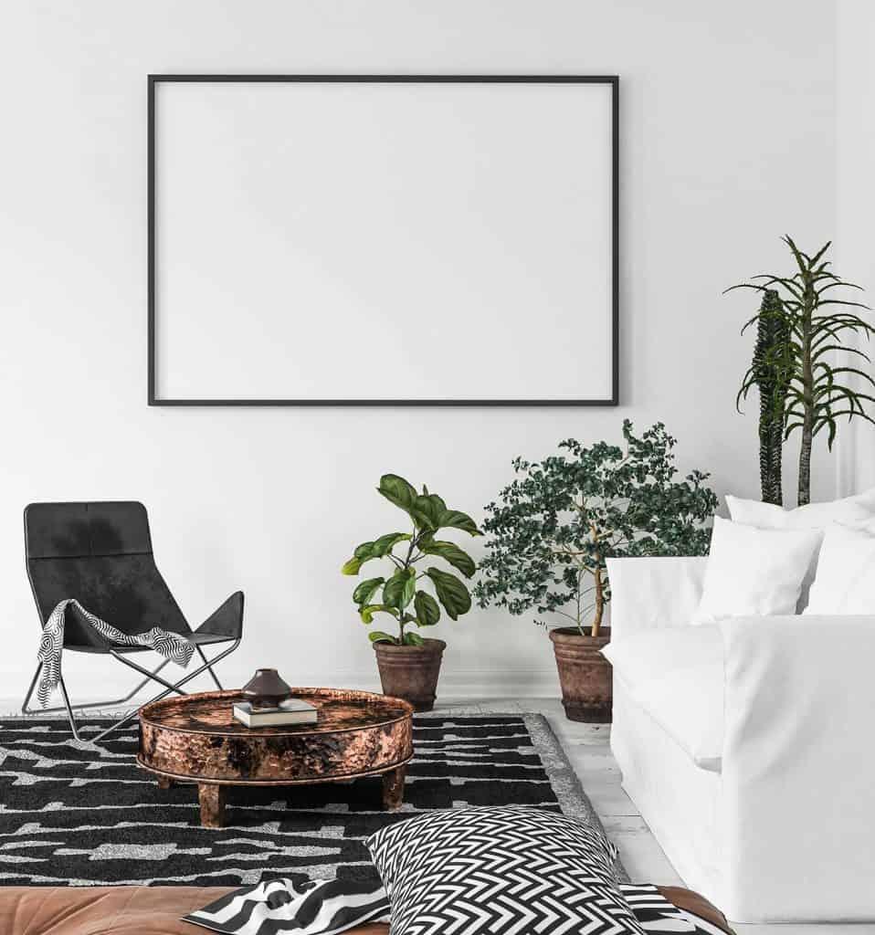 Mock-up poster frame in living room background