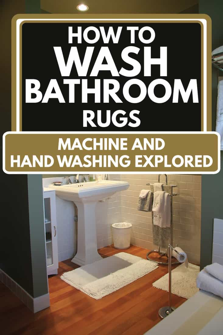 Modern Bathroom with a retro look, Subway tiles and pedestal sink, Hardwood fir floor, How To Wash Bathroom Rugs [Machine and Hand Washing Explored]