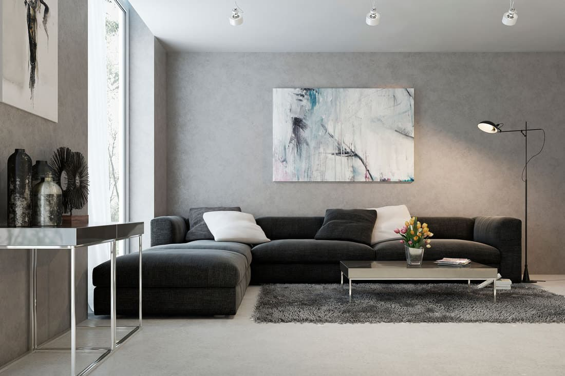 Modern interior of living room with black couch