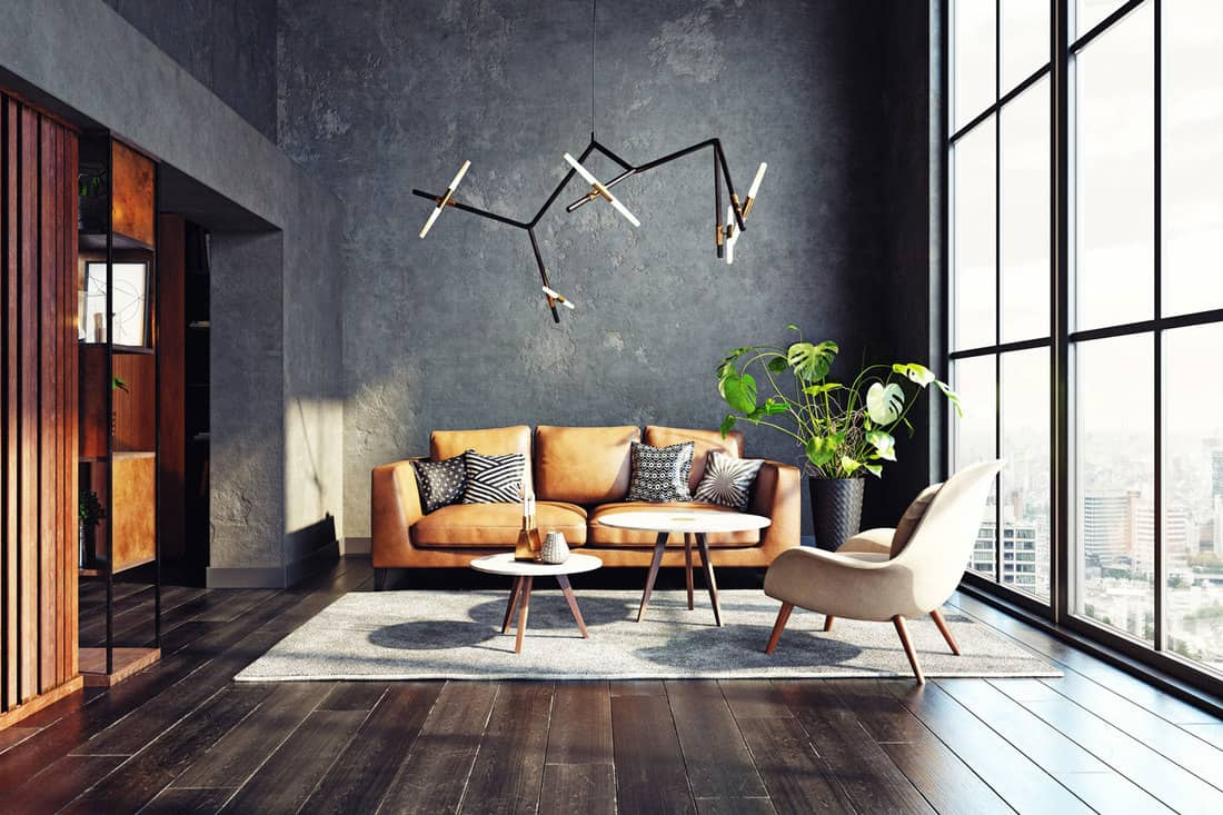 Modern living room design with wood floors and a leather sofa
