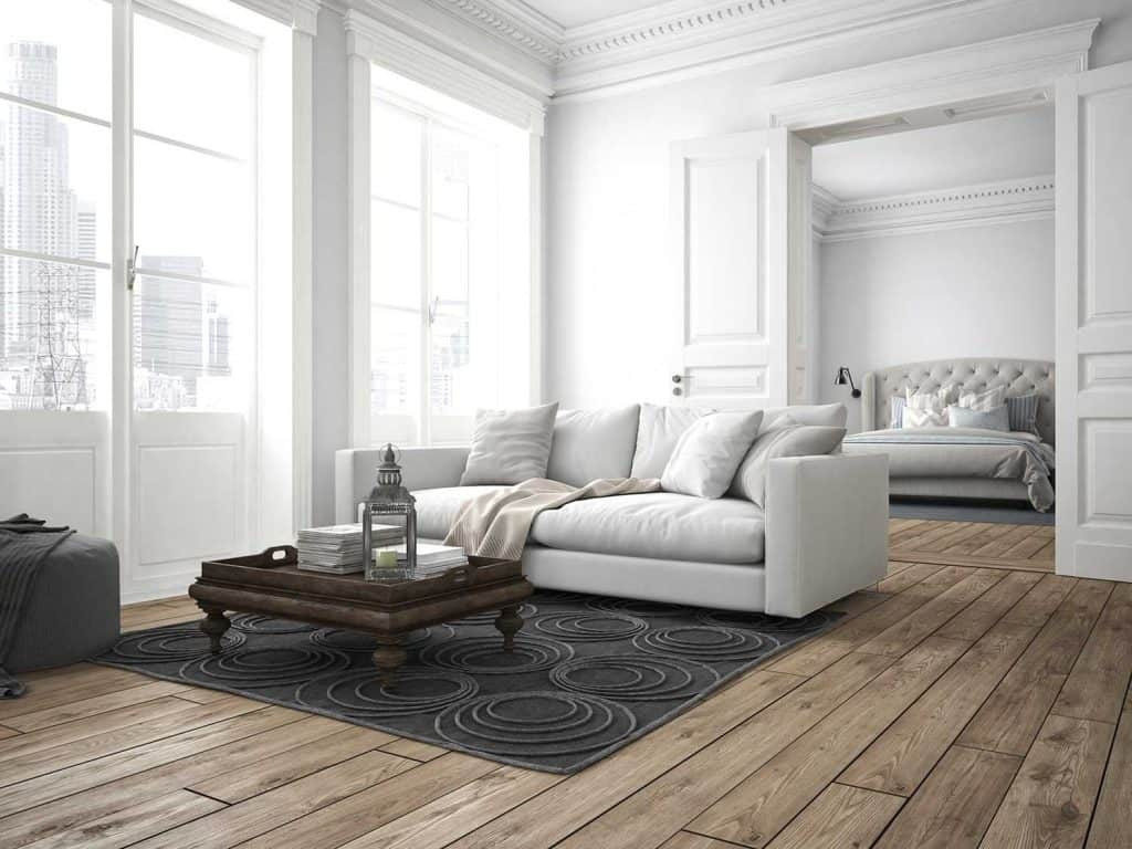 Modern living room with white sofa and hardwood flooring