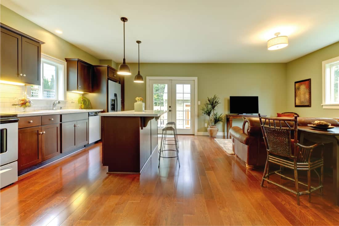 Modern new brown kitchen with cherry floor and living room in green wall paint