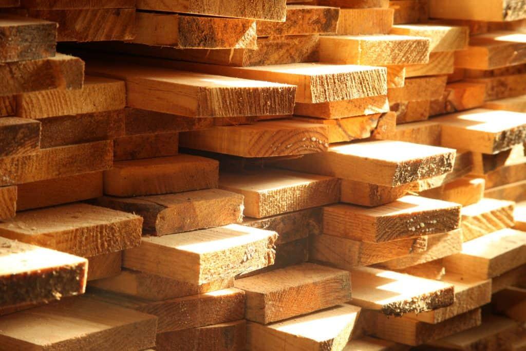 Precision cut lumber stock pile