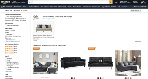 Amazon website couch product page
