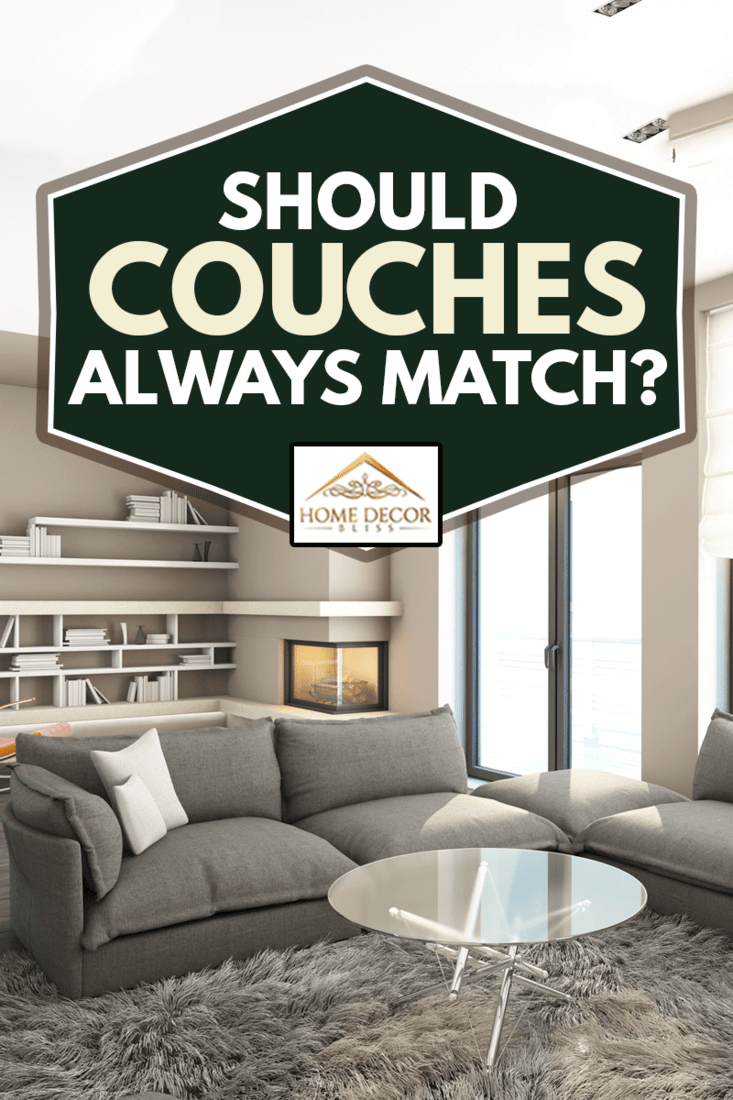 Should Couches Always Match?, Bright Living Room with gray couches