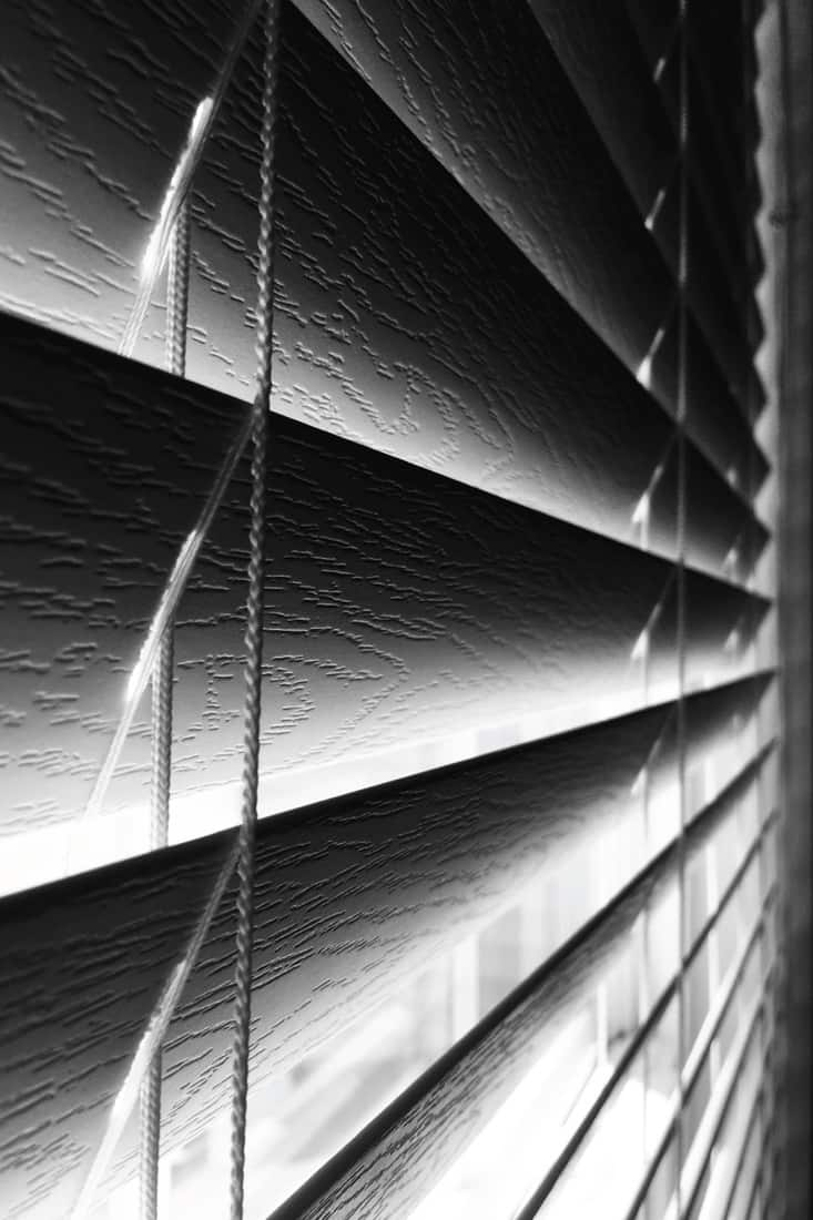 Sunlight trying to deep through the faux wood blinds