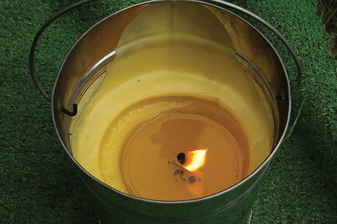 Top view of a bucket candle for driving away mosquitos