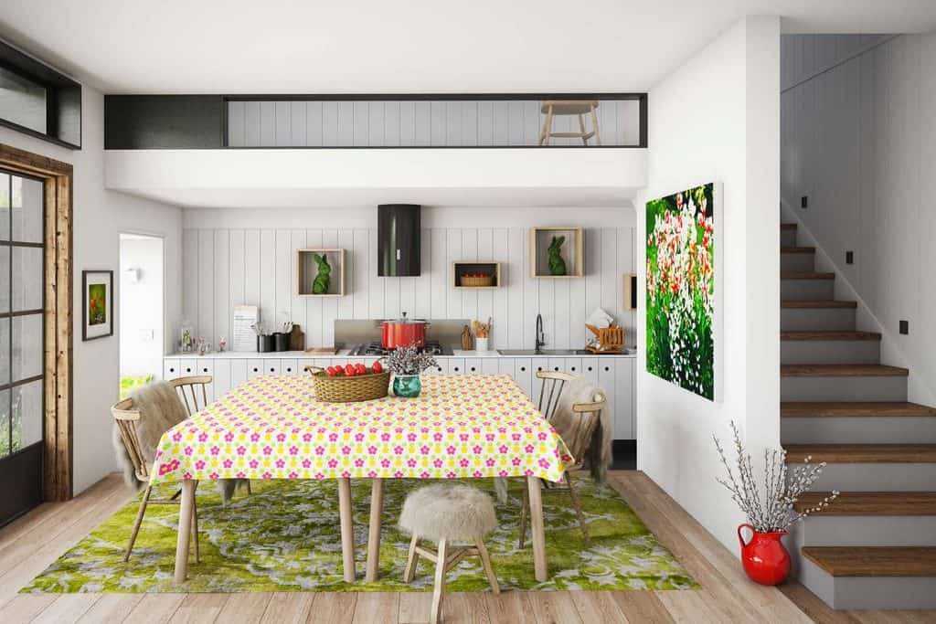 Warm and cozy domestic kitchen and dining room interior with Easter decorations