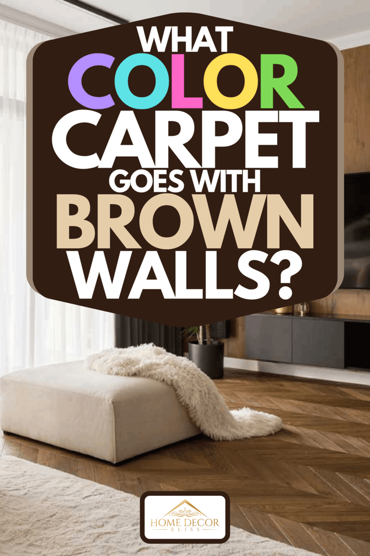 An elegant designed living room with window wall, big television screen and wooden elements, What Color Carpet Goes With Brown Walls?