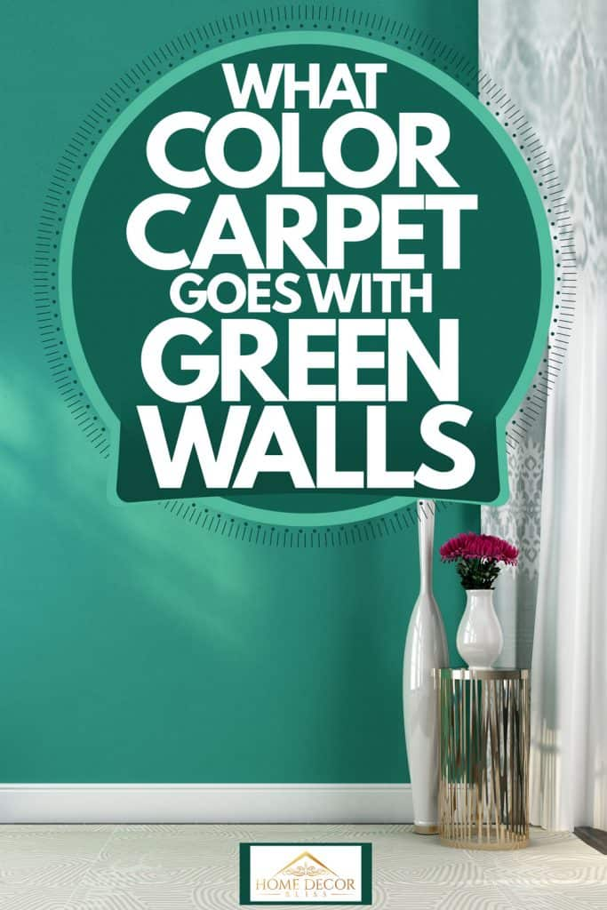 A teal green wall with a white curtain on the side and gray flooring with white rug, What-Color-Carpet-Goes-With-Green-Walls