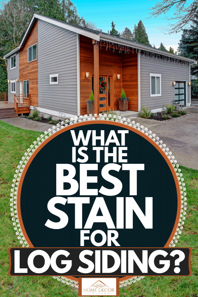 Modern cabin house with mixed sidings on the exterior and a concrete patio, What Is The Best Stain For Log Siding?