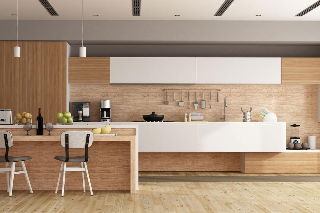 White and wooden modern kitchen with island