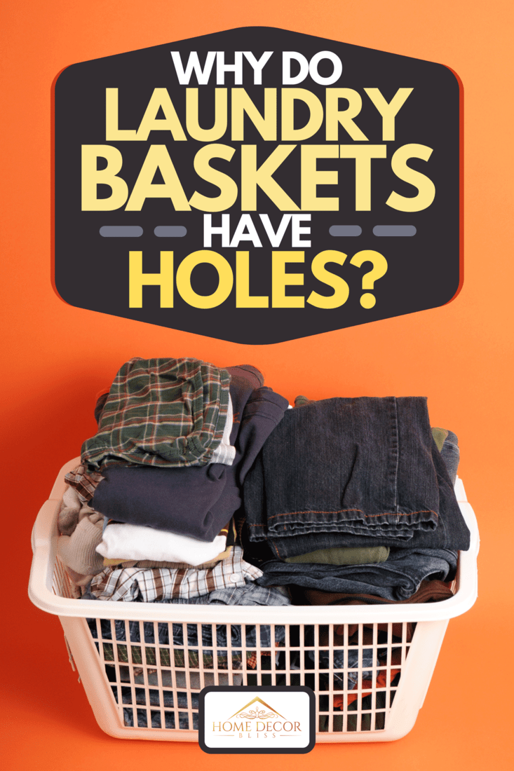 A folded men's clothing in a laundry basket on an orange background, Why Do Laundry Baskets Have Holes?