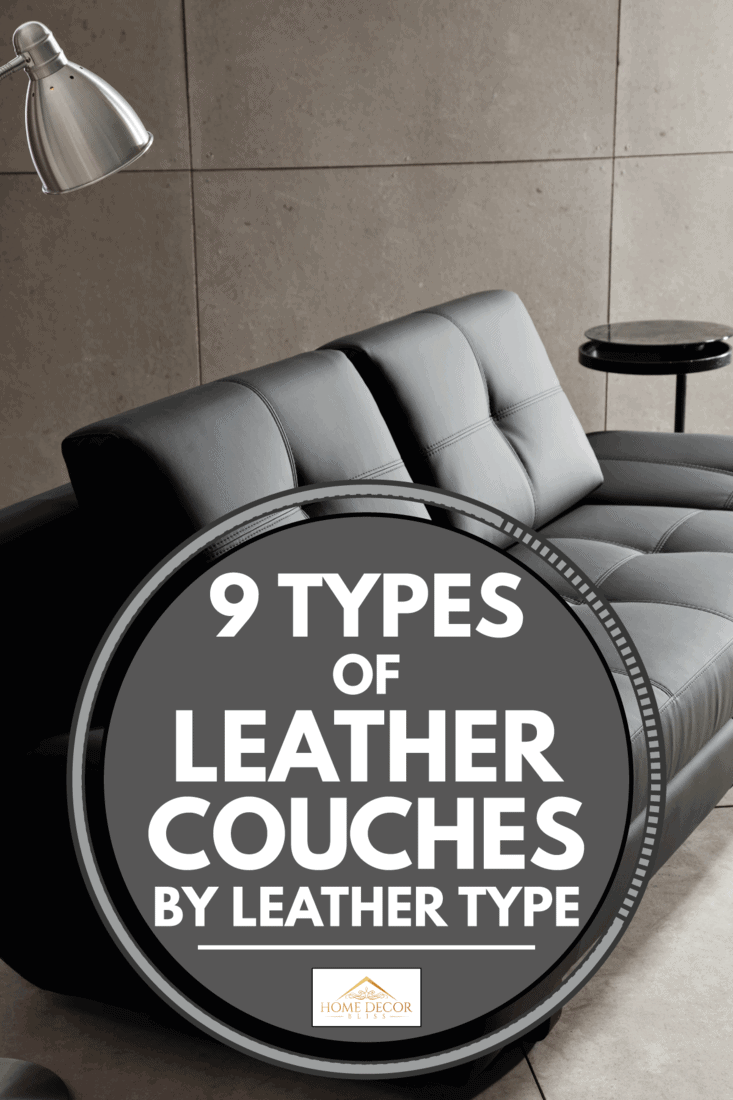 black leather couch inside a minimalist living room, 9 Types of Leather Couches by Leather Type