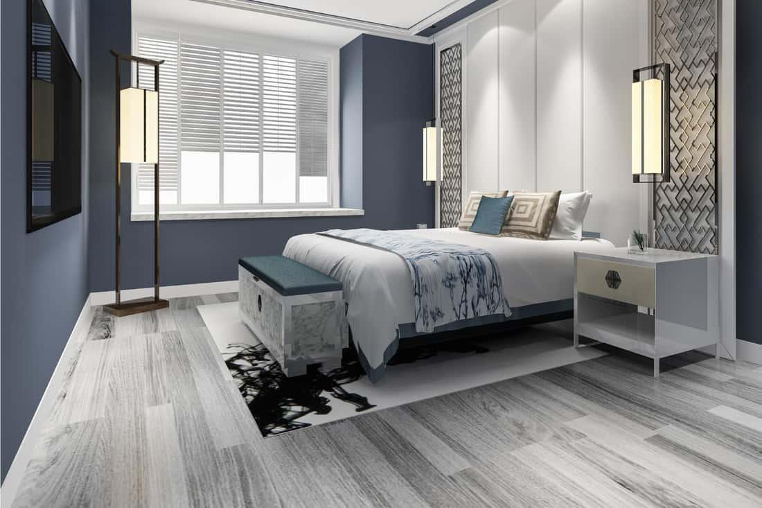 Blue luxury Chinese bedroom suite in resort hotel