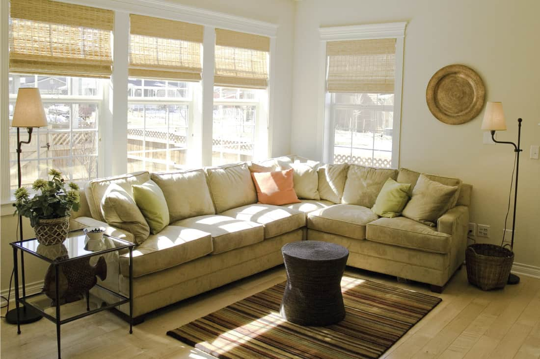 Bright living room with light green sectional couch against a sunny window with blinds