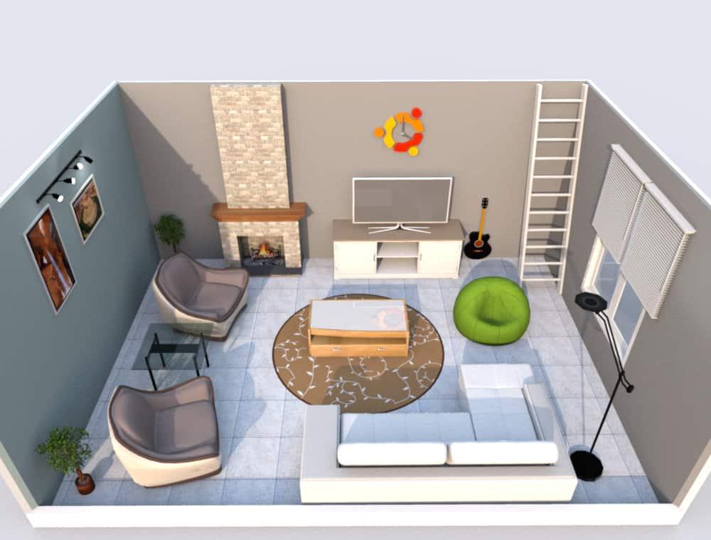 contemporary living room designed for millenials, room has a pouf, guitar, clock, etc