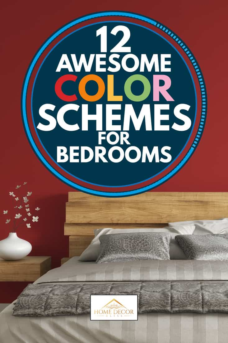 Crimson color scheme bedroom with a large bed wooden headboard, 12 Awesome Color Schemes for Bedrooms
