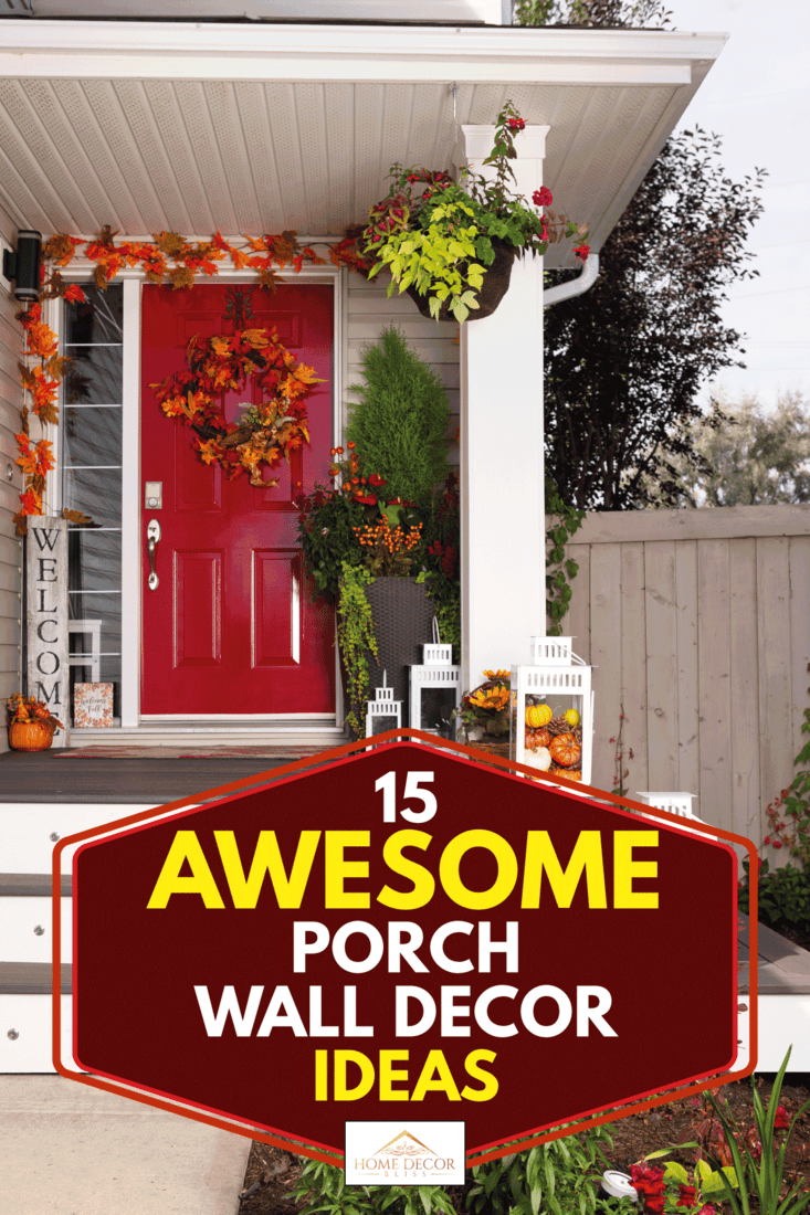 Front porch decorated with fall decor, 15 Awesome Porch Wall Decor Ideas
