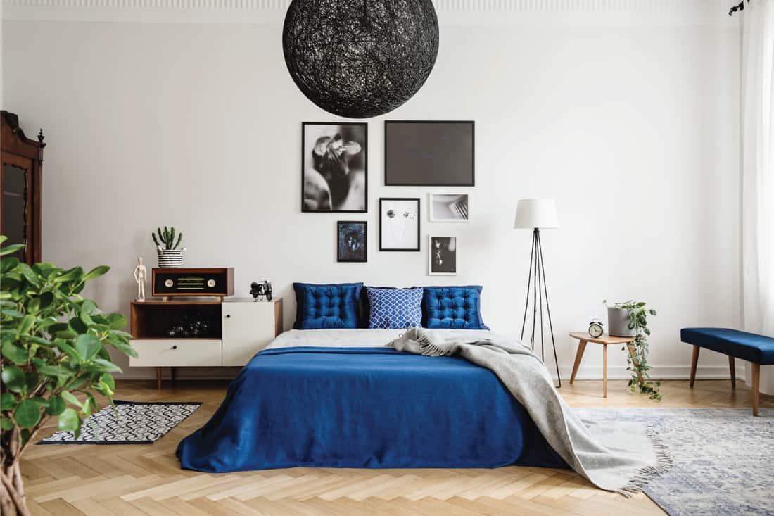 Gallery wall on top of a king-sized bed with navy blue pillows and bedsheet