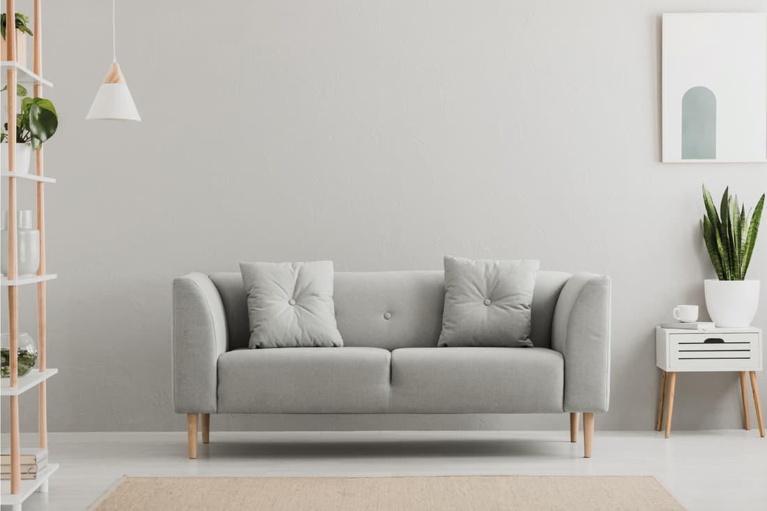grey sofa in simple living room interior