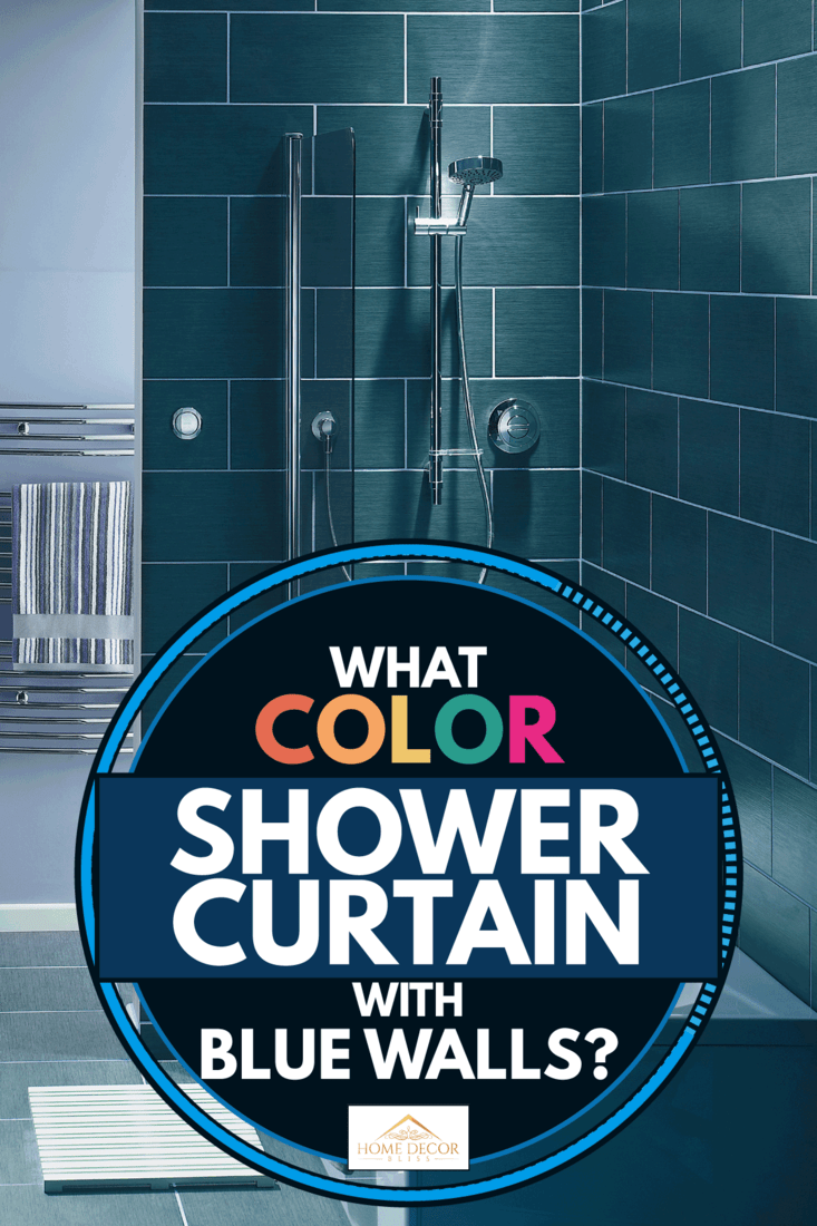 Interior of a bathroom with gray and blue wall colors, What Color Shower Curtain With Blue Walls?
