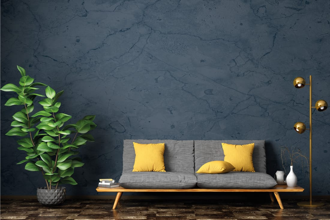living room with gray sofa, home plant and floor lamp against blue stucco wall