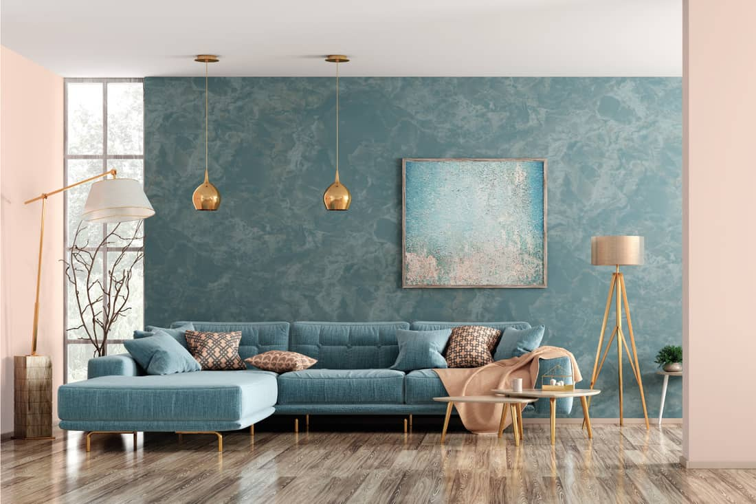 modern living room with matching bases but different shades for table lamp and floor lamp