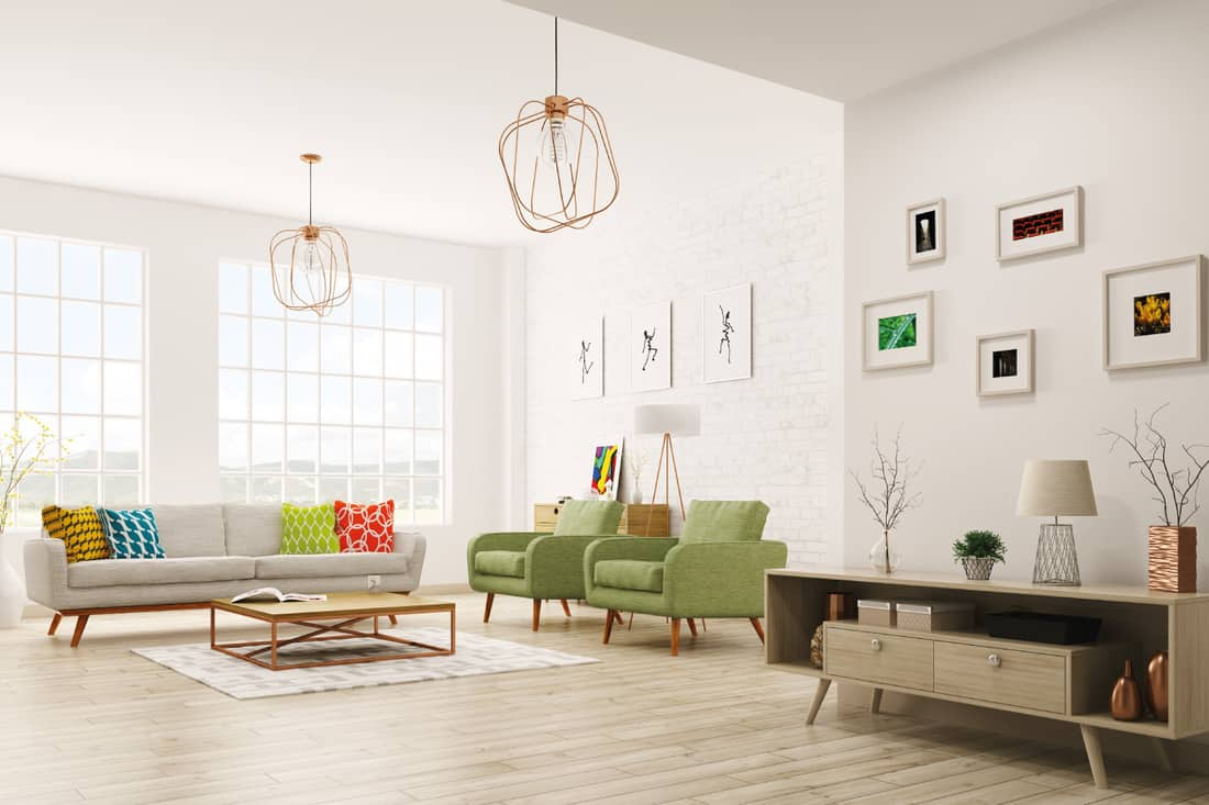 modern living room with matching shades of table lamp and floor lamp but different bases