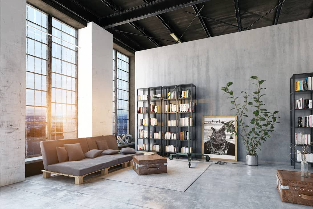 Modern loft living room with gray flooring, stained wood and concrete wall