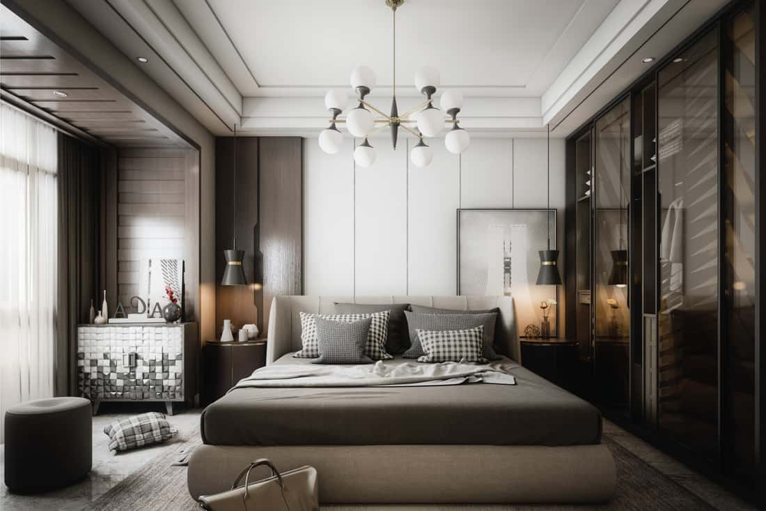 Modern style master bedroom interior design in gray and brown accent