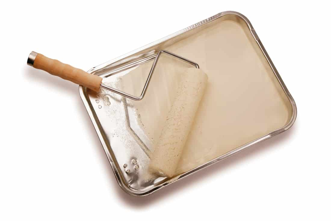 Paint roller and tray with white paint on white background