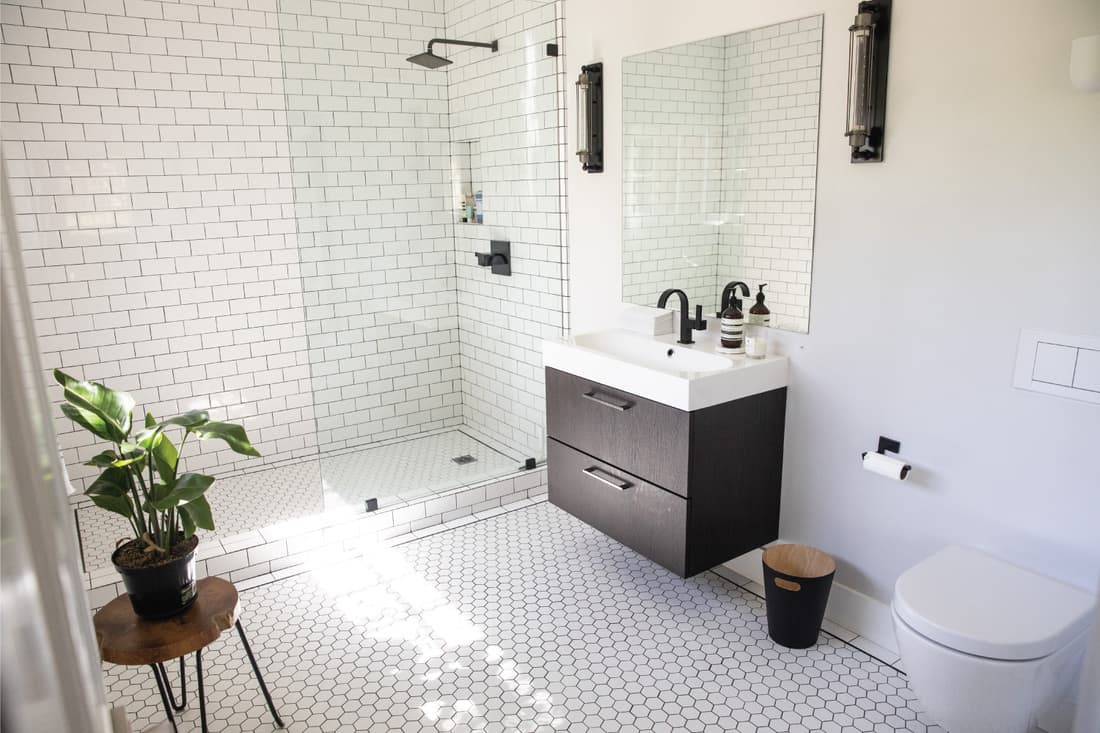 white, bright and airy luxury bathroom with toilet