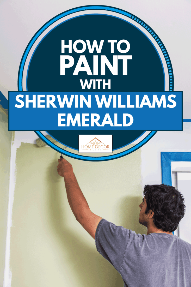 Young man is using a paint roller to paint around an open window in a bedroom, How To Paint With Sherwin Williams Emerald