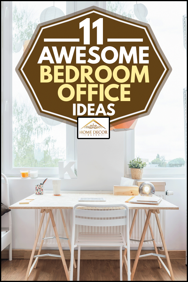 Bed and desk in homely girl's office bedroom, 11 Awesome Bedroom Office Ideas