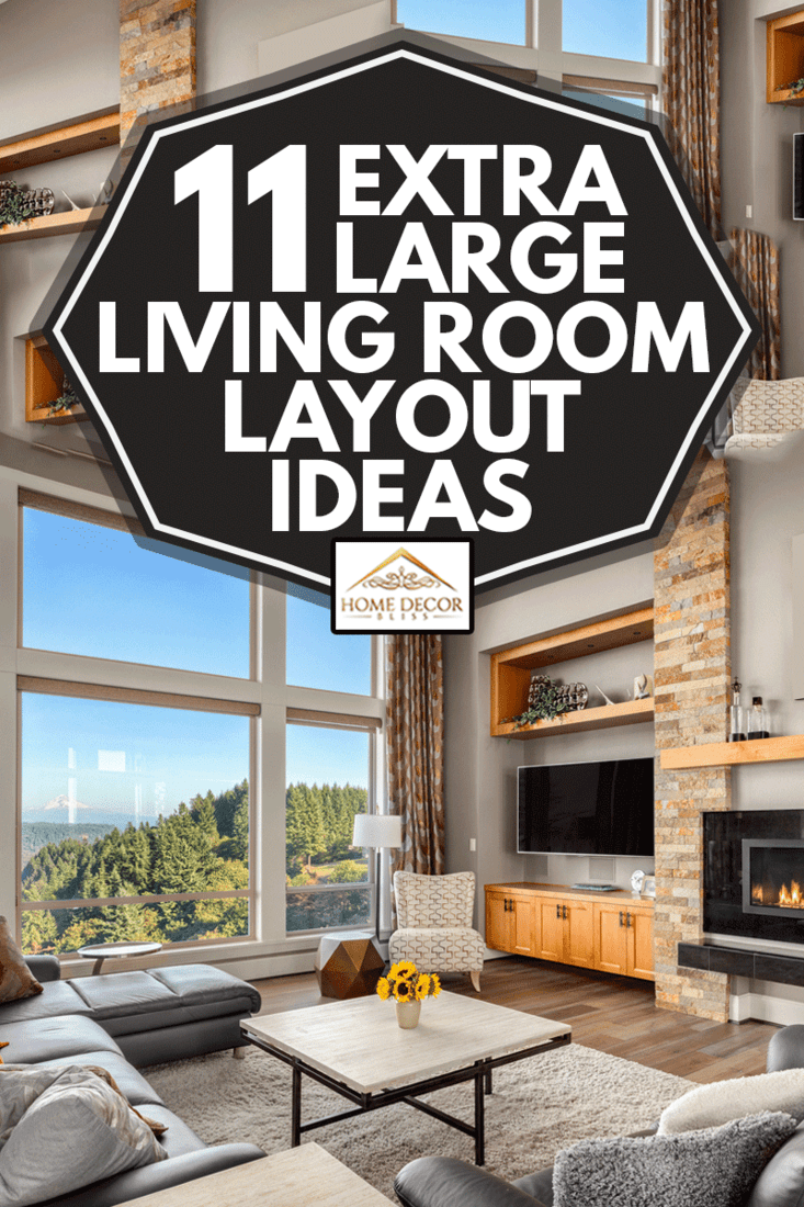 Furnished living Room with view on sunny afternoonFurnished living room in upscale new home, 11 Extra Large Living Room Layout Ideas