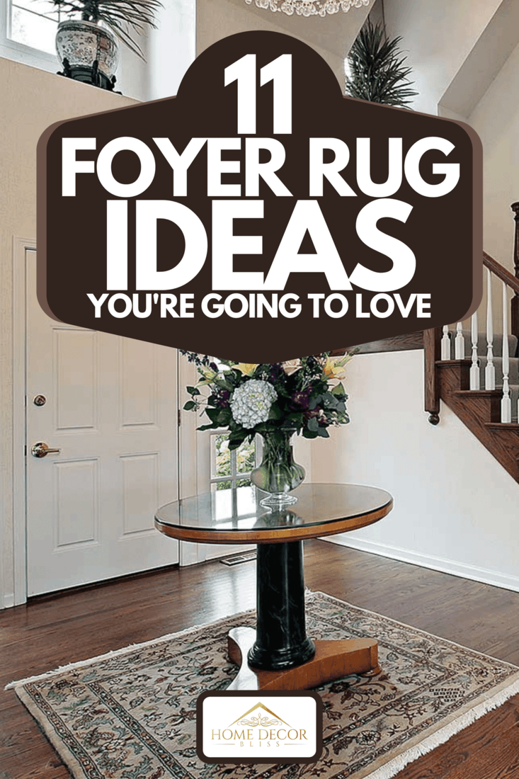 A foyer with center table on carpet rug, 11 Foyer Rug Ideas You're Going to Love