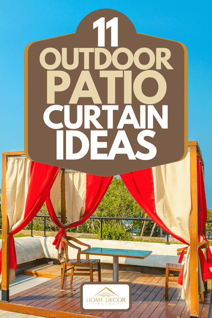 Outdoor patio with tables, chairs and red curtains, 11 Outdoor Patio Curtain Ideas