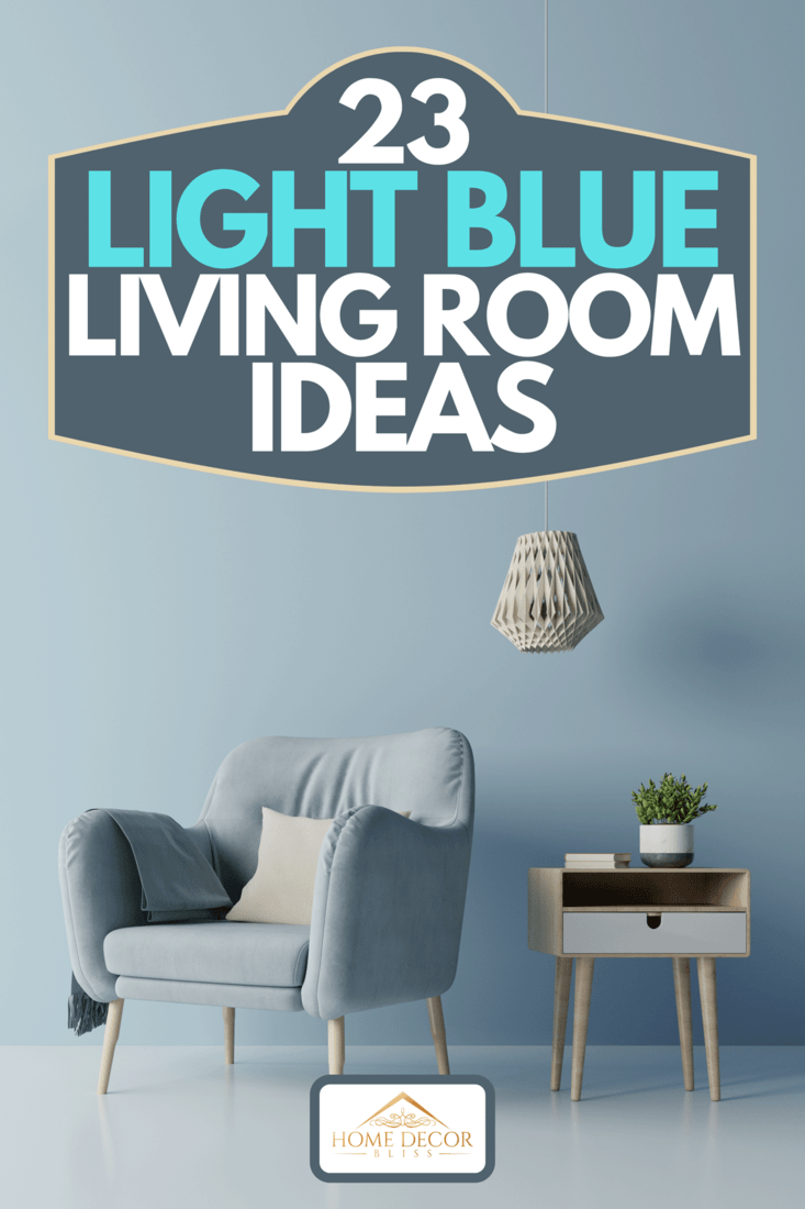 A modern living room with blue armchair have cabinet and lamp, 23 Light Blue Living Room Ideas
