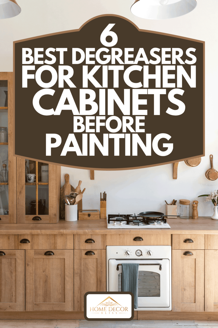 A contemporary interior with kitchen in Scandinavian style, modern wooden furniture, gas stove and oven appliance, 6 Best Degreasers For Kitchen Cabinets Before Painting