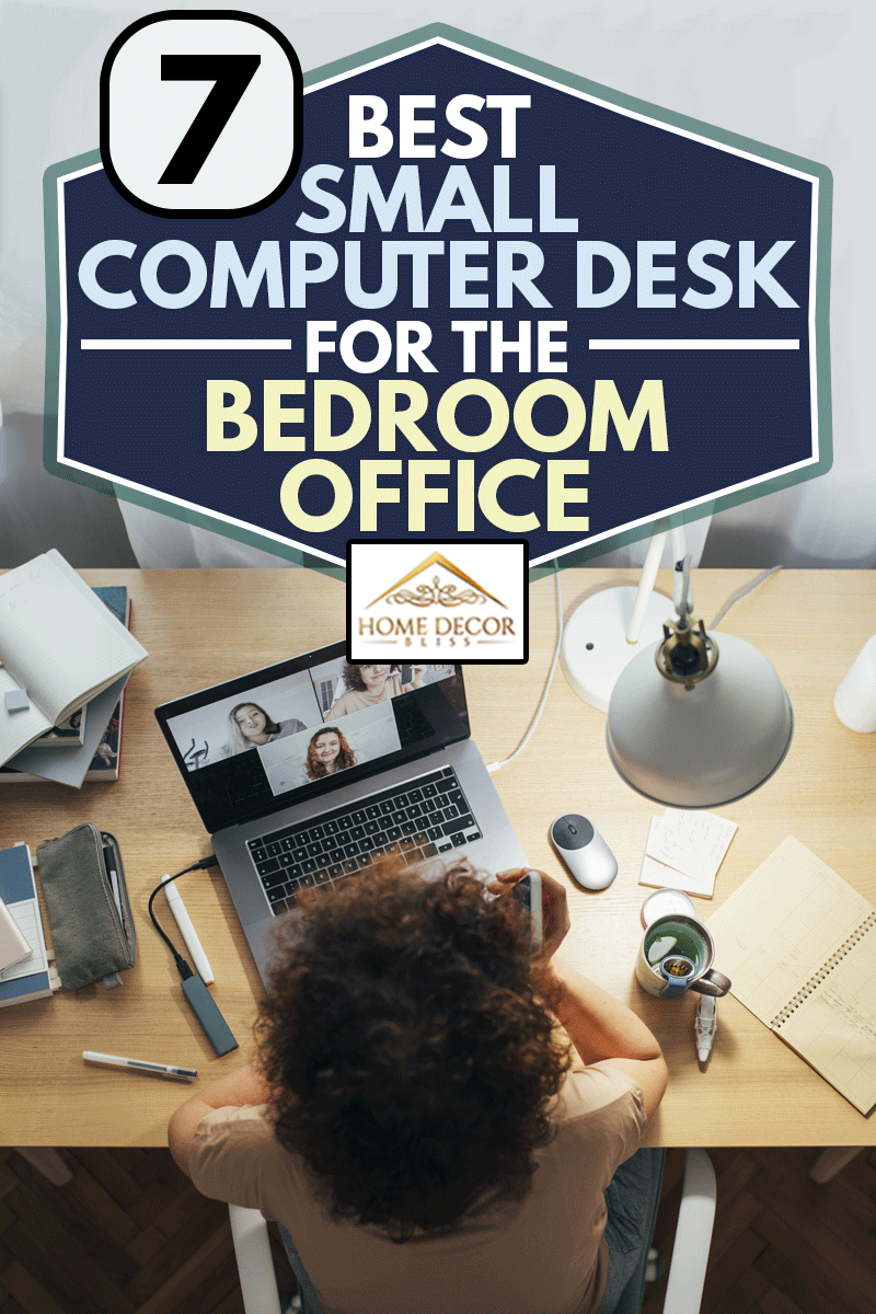 a happy woman sitting at home and talking to her friends or colleagues in a meeting using her laptop computer in small computer desk, 7 Best Small Computer Desks For The Bedroom Office