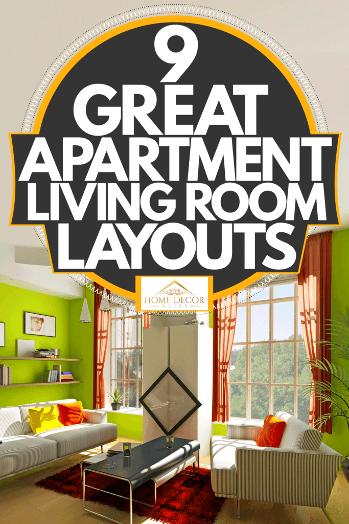 A modern green themed living room, 9 Great Apartment Living Room Layouts