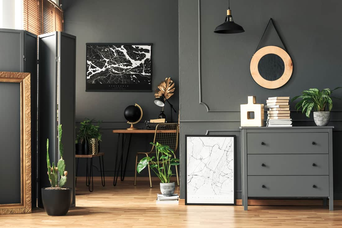 A dark themed bedroom with office and a divider