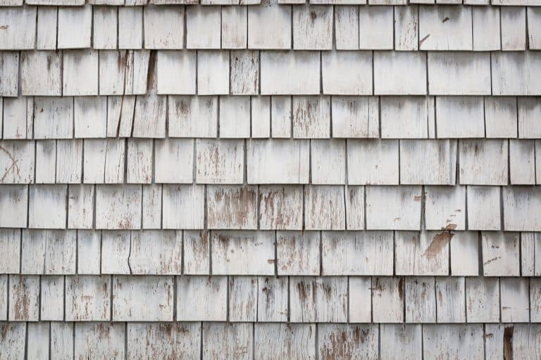 A detailed view of a weathered wooden shingle of an old house, What Color Siding Goes With Weathered Wood Shingles?