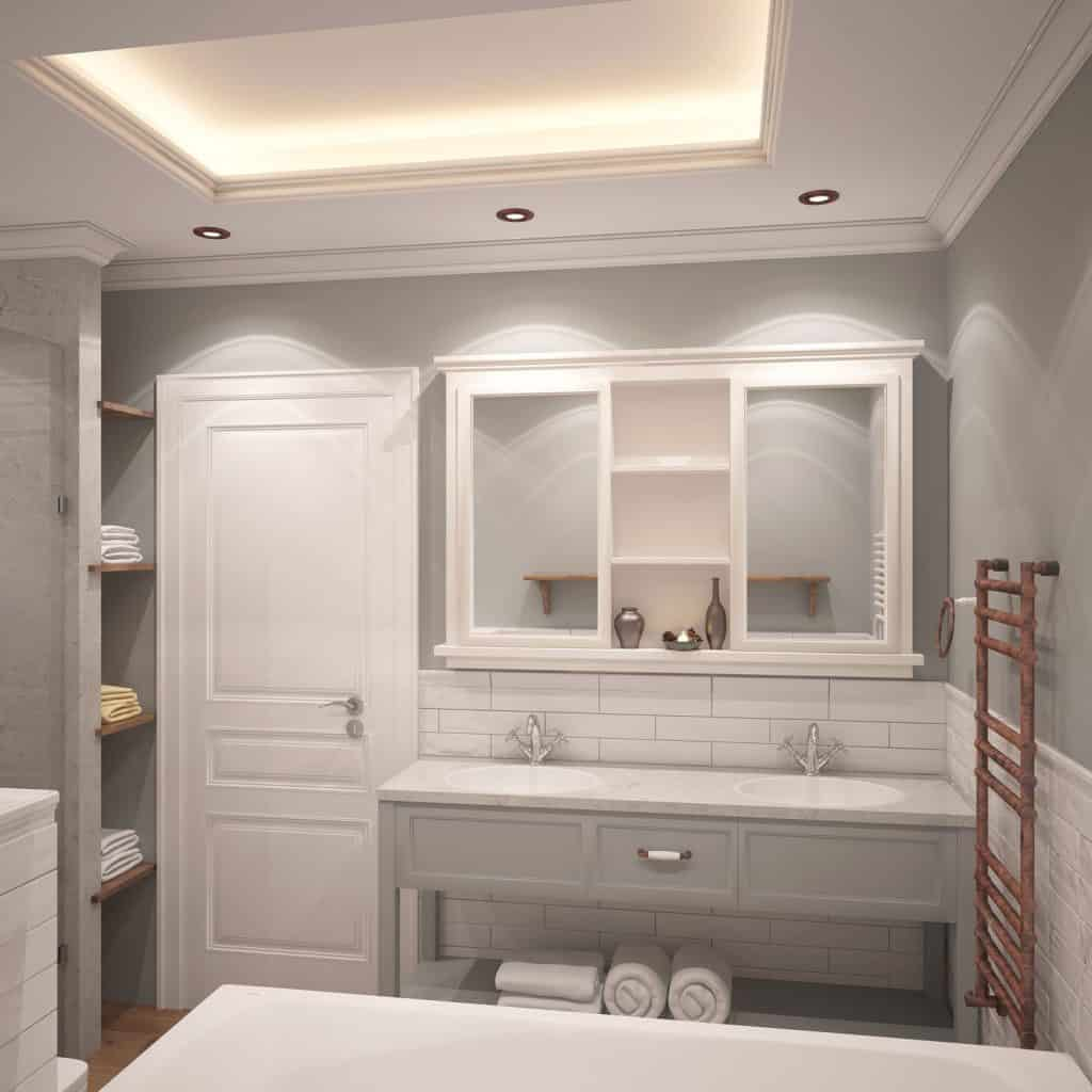 A gorgeous small bathroom area with a classic designed vanity area