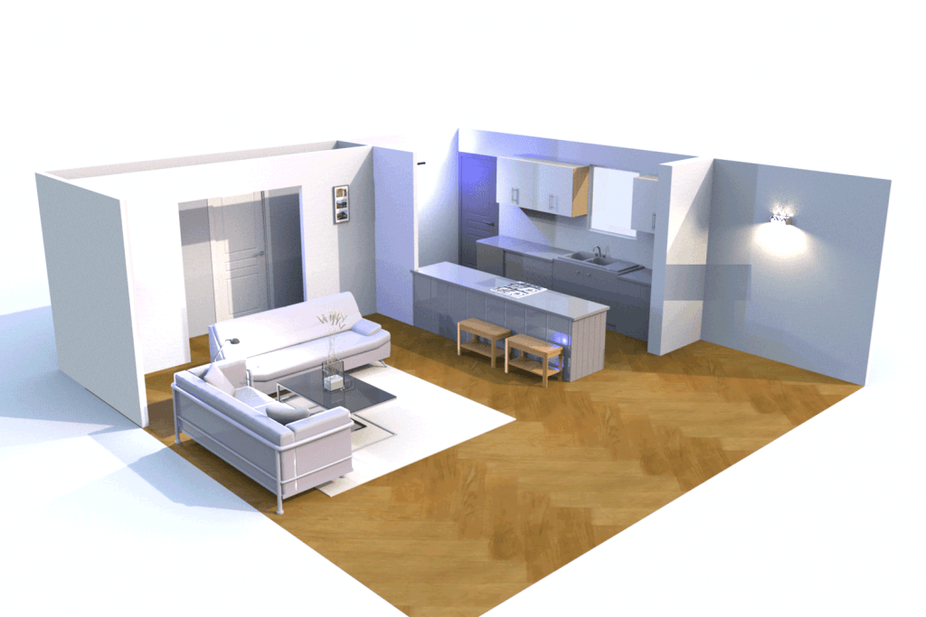 A small living room with an open kitchen and dining area