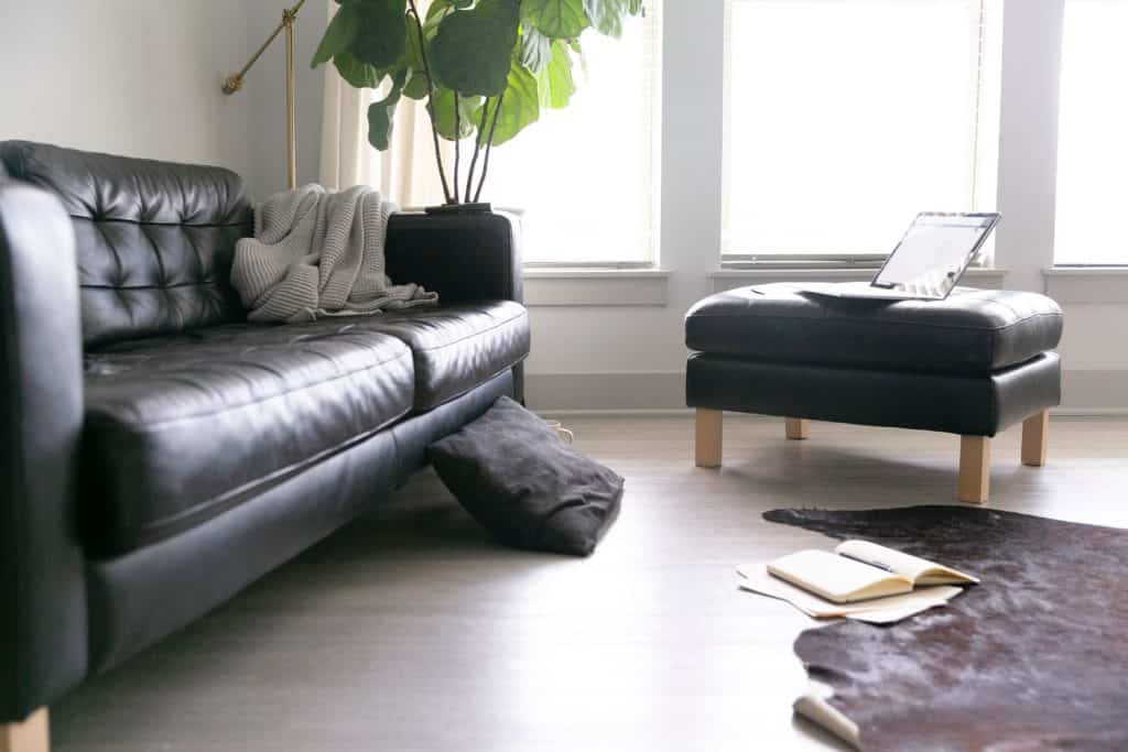 A white painted wall living room with a black two seater sofa, black end table with an indoor plant, and a small black ottoman