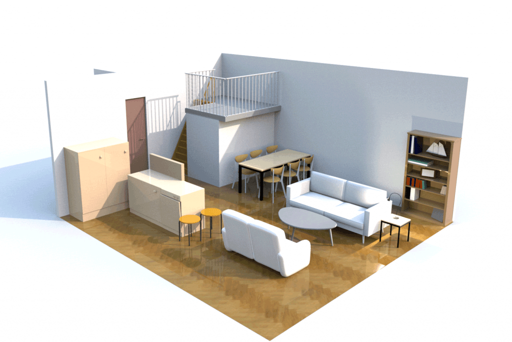 Small living room with an open kitchen area and living area with white sofas, and a wooden flooring