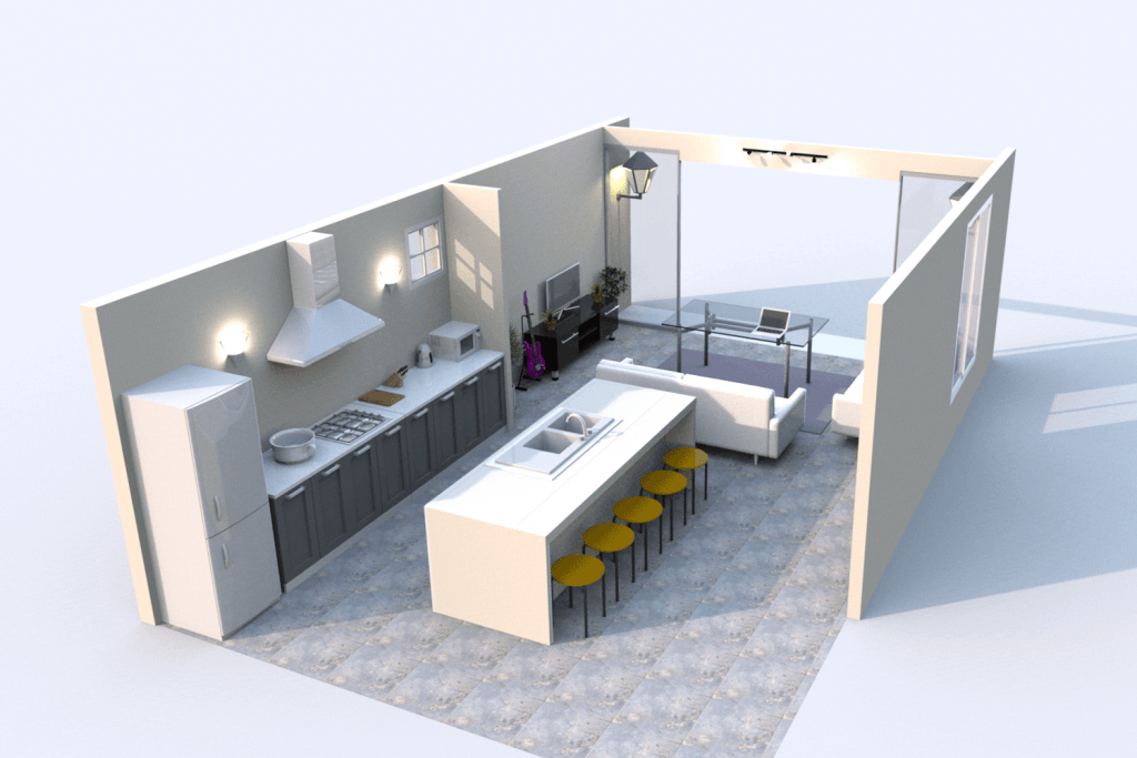 An open plan kitchen area and living room with white painted walls and a modern kitchen island